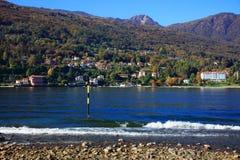 Sceniczny widok Isola dei Pescatori na Lago Maggiore, Północny Włochy, Europa Zdjęcia Stock