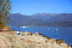Sceniczny widok Isola dei Pescatori na Lago Maggiore, Północny Włochy, Europa Zdjęcie Stock