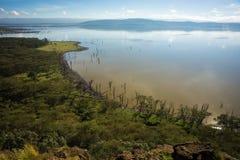 Sceniczny widok jeziorny Nakuru od widoku punktu na wzgórzu Zdjęcia Royalty Free
