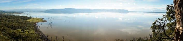 Sceniczny widok jeziorny Nakuru od widoku punktu na wzgórzu Obraz Stock
