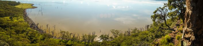 Sceniczny widok jeziorny Nakuru od widoku punktu na wzgórzu Fotografia Stock
