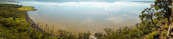 Sceniczny widok jeziorny Nakuru od widoku punktu na wzgórzu Zdjęcie Royalty Free