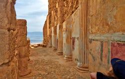 Sceniczny widok Masada g?ra w Judejskim pustynnym pobliskim Nie?ywym morzu, Izrael fotografia stock