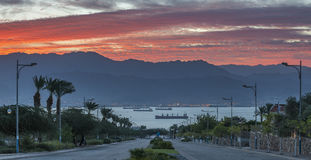 Sceniczny widok na zatoce Aqaba, Czerwony morze zdjęcie stock