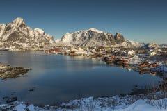 Sceniczny widok nad Reine w Lofoten wyspach, Norwegia obrazy stock