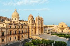 Sceniczny widok Noto katedralny kościół, przykład barokowa architektura, Sicily, Włochy fotografia royalty free