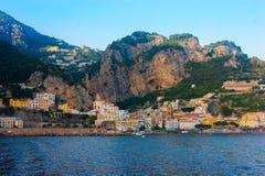 Sceniczny widok piękny grodzki Amalfi, Campania, Włochy Zdjęcie Stock