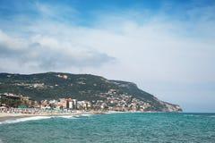 Sceniczny widok Pietra Ligure, Liguria, włoszczyzna Riviera zdjęcie stock