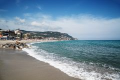 Sceniczny widok Pietra Ligure, Liguria, włoszczyzna Riviera fotografia stock