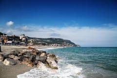 Sceniczny widok Pietra Ligure, Liguria, włoszczyzna Riviera obraz stock