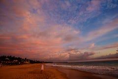 Sceniczny widok przy oceanem przy tropikalnym wybrzeżem Sri Lanka Zdjęcia Royalty Free