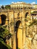 Sceniczny widok Ronda most i jar, Ronda, Malaga, Andalusia, Hiszpania zdjęcia stock