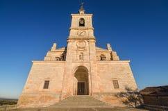 Sceniczny widok San Pedro kościół przy zmierzchem, Lerma, Burgos, Hiszpania zdjęcie stock