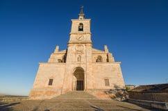 Sceniczny widok San Pedro kościół przy zmierzchem, Lerma, Burgos, Hiszpania obraz stock