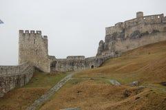 Sceniczny widok stary kamienny europejczyka kasztel z popielatą mgłą na tle fotografia royalty free