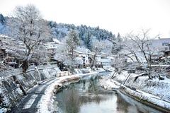 Sceniczny widok Takayama w zima sezonie Obrazy Stock