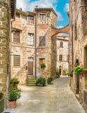 Sceniczny widok w Anghiari, w prowincji Arezzo, Tuscany, Włochy obrazy stock