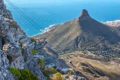 Sceniczny widok w Kapsztad, Stołowa góra, Południowa Afryka Zdjęcie Stock