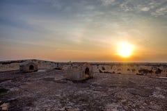 Sceniczny widok zmierzch od ścian przy fortem Galle Zdjęcia Royalty Free