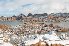 Sceniczny zima śnieg przy Watson Jeziornym prescottem Arizona Obrazy Stock