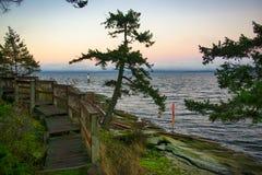 Sceniczny zmierzchu widok ocean od Jack punktu parka w Nanaimo, kolumbia brytyjska obraz stock