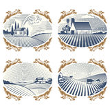Scenisk antik teckning för Retro för landskapvektorillustration för lantgård bygd för hus åkerbruk grafisk vektor illustrationer