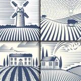 Scenisk antik teckning för Retro för landskapvektorillustration för lantgård bygd för hus åkerbruk grafisk royaltyfri illustrationer