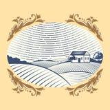 Scenisk antik teckning för Retro för landskapvektorillustration för lantgård bygd för hus åkerbruk grafisk stock illustrationer