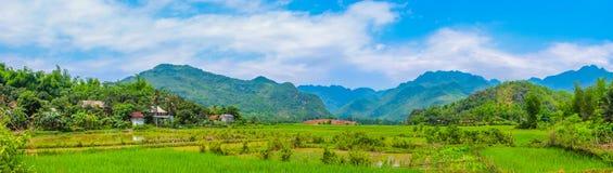 Scenisk bygd, lantligt landskap, by, panorama Arkivbild