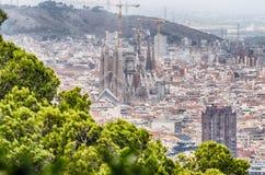 Scenisk flyg- sikt av Sagradaen Familia, Barcelona, Catalonia, Royaltyfria Foton