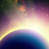 Scenisk flyg- sikt av soluppgång från utrymme vektor Arkivbild