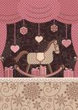 Scenisk häst och gåvor för nytt år Royaltyfri Fotografi