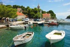 Scenisk hamn av den Luka fjärden, Cavtat, Kroatien Arkivbilder
