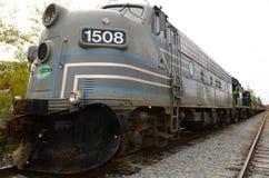 Scenisk järnväglokomotiv för ADK med snöplogen royaltyfri foto