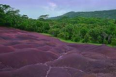 Scenisk naturlig under av den Chamarel slätten på Mauritius royaltyfri fotografi