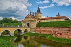 Scenisk Nesvizh slott i Vitryssland Arkivfoton