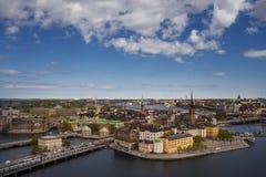 Scenisk panorama av den gamla staden (Gamla Stan) i Stockholm Royaltyfri Bild