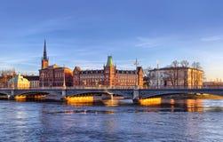 Scenisk panorama av Stockholm arkivfoton