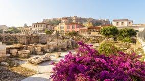 Scenisk panoramautsikt av arkivet av Hadrian, Aten, Grekland royaltyfri fotografi