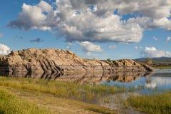 Scenisk pil LakePrescott Arizona Arkivfoton