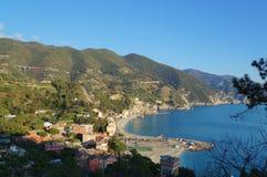 Scenisk sikt över kustlinjen av Monterosso Royaltyfri Fotografi