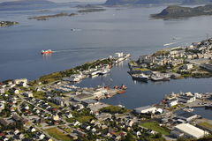 Scenisk sikt av Alesund, Norge Arkivbild