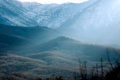 Scenisk sikt av bergen, skog med solljus royaltyfri fotografi