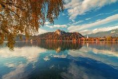 Scenisk sikt av Bled sjön på den soliga höstdagen Arkivfoton