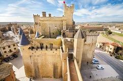 Scenisk sikt av den berömda Olite slotten, Navarra, Spanien Fotografering för Bildbyråer