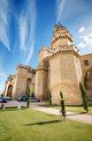 Scenisk sikt av den berömda Olite slotten, Navarra, Spanien, på april 2, 2015 Royaltyfria Bilder