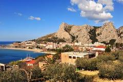 Scenisk sikt av fjärden på Adriatiskt havet Arkivbild