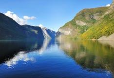 Scenisk sikt av fjorden i Norge Arkivbild