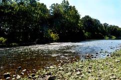 Scenisk sikt av floden och Rocky Bank In The Forest för A den flödande arkivbilder
