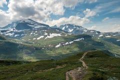 Scenisk sikt av norska berg i den Jotunheimen nationalparken Arkivbild